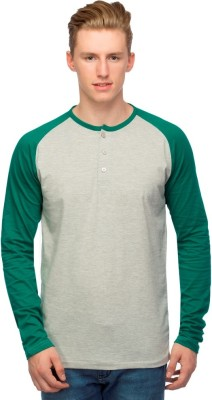 Martech Solid Men's Henley Grey, Green T-Shirt