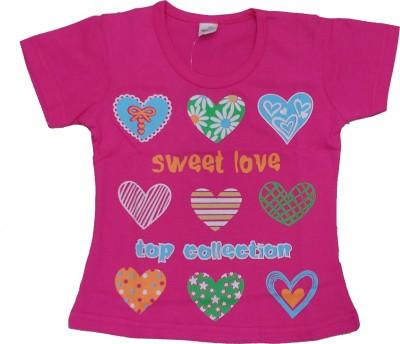 Kandyfloss Self Design Girl,s, Boy's Round Neck Pink T-Shirt