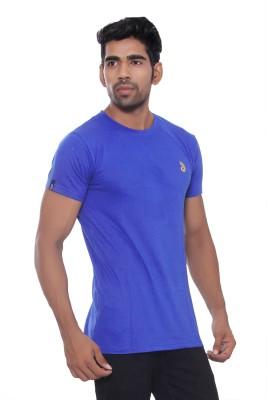Pezzava Self Design Men's Round Neck Reversible Blue, Yellow T-Shirt