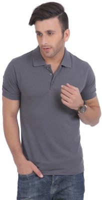 DoubleF Solid Men's Polo Neck Grey T-Shirt
