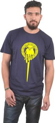 Abuse Printed Men's Round Neck Dark Blue T-Shirt