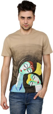 Rang Rage Animal Print Men's Round Neck Beige T-Shirt