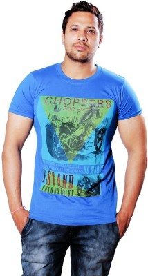 AR Printed Men,s Round Neck Blue T-Shirt