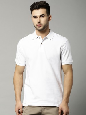Marks & Spencer Solid Men's Polo Neck White T-Shirt