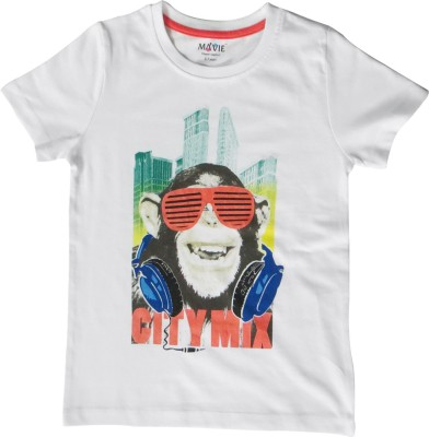 Kothari Printed Girl's Round Neck White T-Shirt