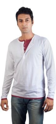 Vagga Solid Men's Henley White, Maroon T-Shirt