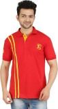 Dk Clues Striped Men's Polo Neck Red T-S...
