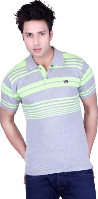 Dezyn Striped Men's Polo Neck Light Green, Grey T-Shirt