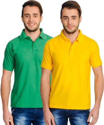 Superjoy Solid Men's Polo Neck Green, Yellow T-Shirt