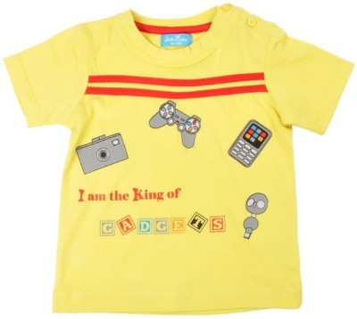 JusCubs Printed Boys Round Neck Yellow T-Shirt