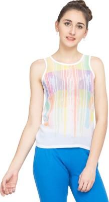 Alibi Self Design Women's Round Neck White T-Shirt