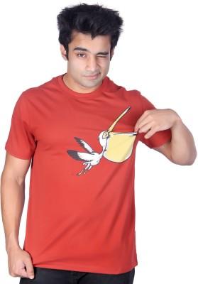 Ektarfaa Printed Men's Round Neck Red T-Shirt