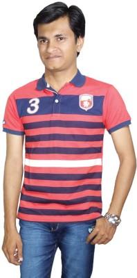 Anjan Striped Boy's Polo Neck Red, Blue T-Shirt