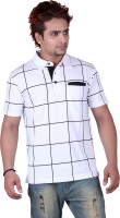 Vivid Bharti Printed Men's Polo Neck White T-Shirt