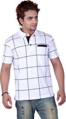 Vivid Bharti Printed Mens Polo White T-Shirt