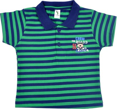 Cucumber Printed Baby Boy's Polo Neck Blue, Green T-Shirt