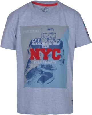 Gini & Jony Solid Boy's Round Neck Dark Blue T-Shirt