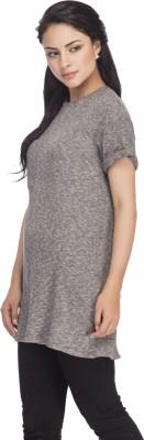 Femella Solid Women's Round Neck Grey T-Shirt