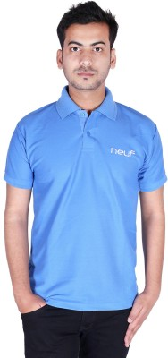 neuf Solid Men's Polo Neck Blue T-Shirt