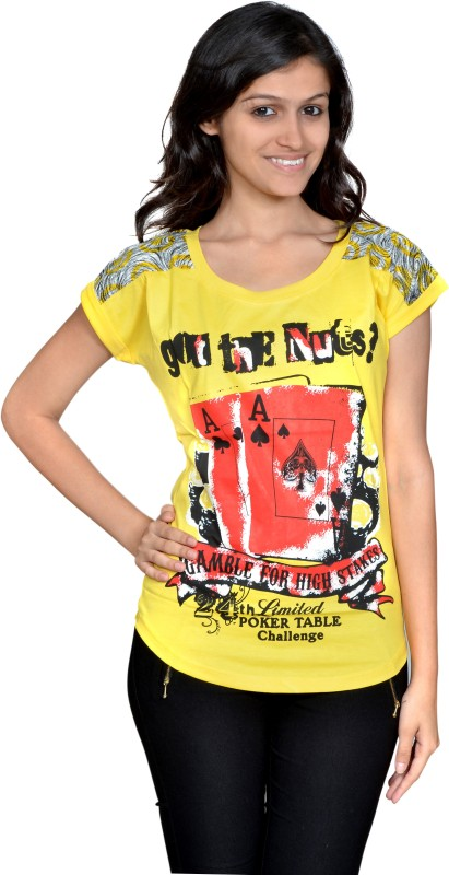 Gee & Bee Striped Women's Round Neck Yellow T-Shirt