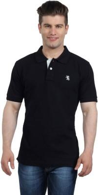 The Cotton Company Solid Men's Polo Neck Black T-Shirt