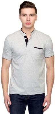 Martech Solid Men's Polo Neck Grey T-Shirt