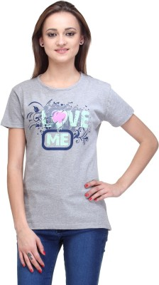 Stilestreet Printed Women's Round Neck Grey T-Shirt