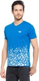 Garcon Printed Men's V-neck Blue T-Shirt