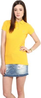 Calgari Solid Women's Polo Neck Yellow T-Shirt
