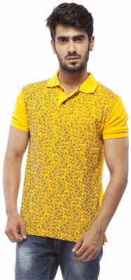 Trendy Bandey Printed Men's Peter Pan Collar Yellow T-Shirt