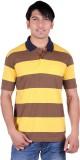 Dark Navy Striped Men's Polo Neck Yellow...