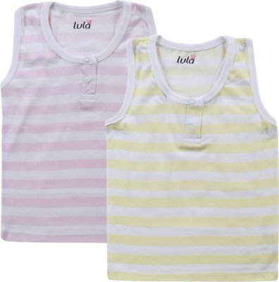 Lula Striped Baby Girl's Round Neck Pink, Yellow T-Shirt