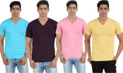 Lyril Solid Men's V-neck Multicolor T-Shirt
