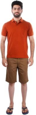 Indian Terrain Printed Men's Polo Brown T-Shirt