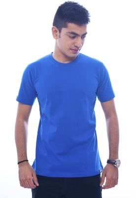Urban Flux Solid Men's Round Neck Blue T-Shirt