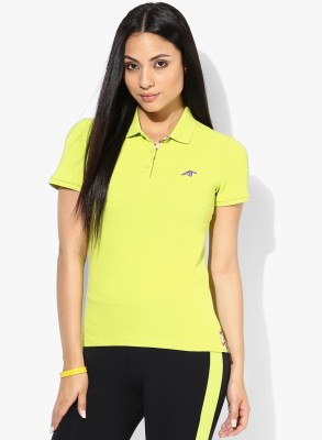 Emerge Solid Women's Polo Neck Yellow T-Shirt