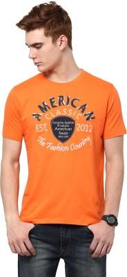 American Swan Graphic Print Men's Round Neck Orange T-Shirt