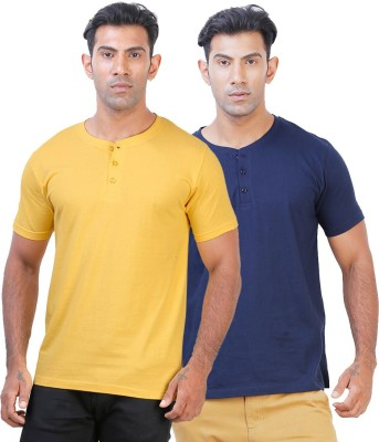 Click Hit Solid Men's Henley Yellow, Blue T-Shirt