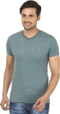 John Players Solid Men's V-neck Green T-Shirt