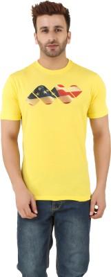 Spunk Printed Men's Round Neck Yellow T-Shirt