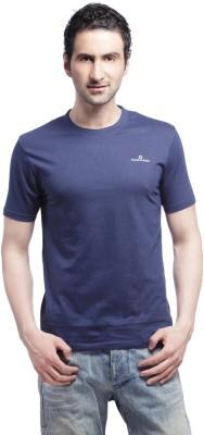 Cross Creek Solid Men's Round Neck Blue T-Shirt