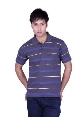 Update Striped Men's Flap Collar Neck Grey T-Shirt