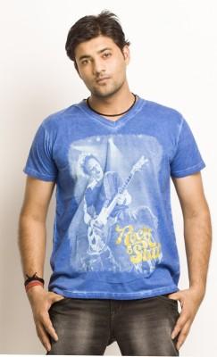 Everyuth Solid Men's V-neck Dark Blue T-Shirt