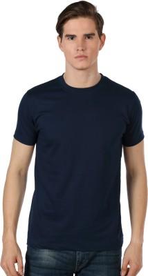 Shootr Solid Men's Round Neck Dark Blue T-Shirt