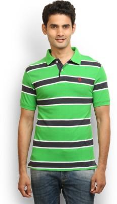 Thisrupt Striped Men's Polo Neck Green T-Shirt