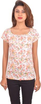 Blueash Floral Print Women's Round Neck White T-Shirt