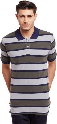 The Vanca Striped Men's Polo Neck Multicolor T-Shirt