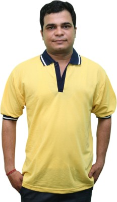CRYSTAL Solid Men's Flap Collar Neck Yellow T-Shirt