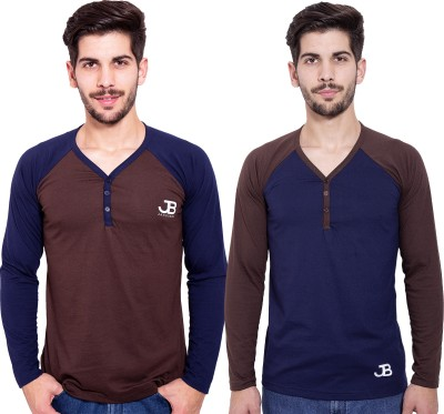 Jangoboy Solid Men,s V-neck Brown, Blue T-Shirt