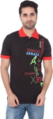 Buff Printed Men's Polo Neck Black, Red T-Shirt